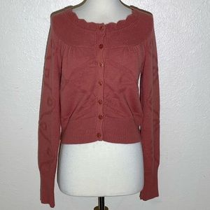 Anthro Guinevere M Pink Sweater Cardigan